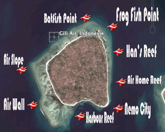 Map sites Gili Air Gili Air  Divers - Gili Meno Divers Gili Trawangan Lombok Bali Indonesia